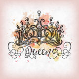 Queen crown with lettering Royalty Free Stock Photography