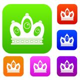 Queen crown set color collection. Queen crown set icon color in flat style isolated on white. Collection sings vector illustration Royalty Free Stock Photos