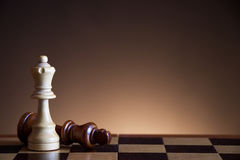 Queen defeats king in chess game. White queen defeats king in chess game, symbol of victory on the chessboard, wooden chess figures on a brown gradient Royalty Free Stock Photography