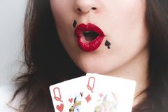 Queen of Diamond and Heart Playing Cards royalty free stock photos