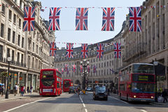Queen Diamond Jubilee Celebrations. Union Flags to commemorate the Queen's Diamond Jubilee in Regent Street, London Royalty Free Stock Photo