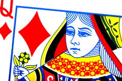Queen of Diamonds. Closeup of a queen of diamonds vector illustration