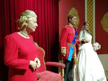 Queen Elizabeth and British Royal Family wax statue Stock Photos