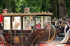 Queen Elizabeth, London uk,  8 June 2019- Queen Elizabeth  Trooping the colour Royal Family Buckingham Palace stock Press photo royalty free stock image