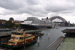 Queen Elizabeth cruise ship in Sydney Harbour. 22 Feb 2011: Queen Elizabeth cruise ocean liner makes first visit to Sydney, Australia Stock Photography