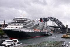 Queen Elizabeth cruise ship in Sydney Harbour. 22 Feb 2011: Queen Elizabeth cruise ocean liner makes first visit to Sydney, Australia Royalty Free Stock Photography
