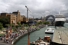 Queen Elizabeth cruise ship in Sydney Harbour. Stock Images