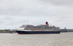 Queen Elizabeth. Cunard cruise liner Queen Elizabeth is pictured on the River Mersey on May 25, 2015 as part of celebrations to mark Cunard's 175th anniversary Stock Photo