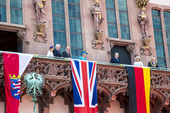 Queen Elizabeth greets the audience from the balcony Royalty Free Stock Photography