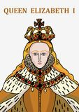 Queen Elizabeth I. A hand drawn  illustration of the historically famous Tudor, Queen Elizabeth I Royalty Free Stock Photo