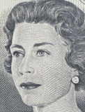 Queen Elizabeth II. Young Queen Elizabeth II as depicted on old Canadian one dollar bill Stock Image