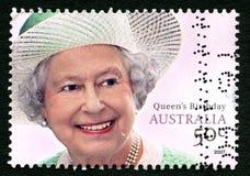Queen Elizabeth II Australian Postage Stamp. AUSTRALIA - CIRCA 2007: A used postage stamp from Australia, depicting a portrait of Queen Elizabeth II Stock Image