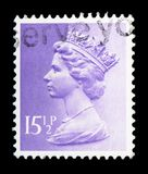 Queen Elizabeth II - Decimal Machin - Normal Perforations serie, circa 1982. MOSCOW, RUSSIA - FEBRUARY 14, 2019: A stamp printed in United Kingdom shows Queen stock photography