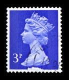 Queen Elizabeth II - Decimal Machin serie, circa 1973. MOSCOW, RUSSIA - FEBRUARY 14, 2019: A stamp printed in United Kingdom shows Queen Elizabeth II - Decimal stock photography