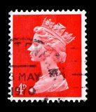 Queen Elizabeth II - Decimal Machin serie, circa 1969. MOSCOW, RUSSIA - FEBRUARY 14, 2019: A stamp printed in United Kingdom shows Queen Elizabeth II - Decimal royalty free stock image