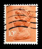 Queen Elizabeth II - Decimal Machin serie, circa 1984. MOSCOW, RUSSIA - FEBRUARY 14, 2019: A stamp printed in United Kingdom shows Queen Elizabeth II - Decimal royalty free stock photo