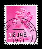 Queen Elizabeth II - Decimal Machin serie, circa 1975. MOSCOW, RUSSIA - FEBRUARY 14, 2019: A stamp printed in United Kingdom shows Queen Elizabeth II - Decimal royalty free stock photos