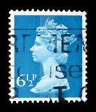 Queen Elizabeth II - Decimal Machin serie, circa 1977. MOSCOW, RUSSIA - FEBRUARY 14, 2019: A stamp printed in United Kingdom shows Queen Elizabeth II - Decimal stock photo
