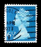 Queen Elizabeth II - Decimal Machin serie, circa 1977. MOSCOW, RUSSIA - FEBRUARY 14, 2019: A stamp printed in United Kingdom shows Queen Elizabeth II - Decimal royalty free stock image