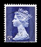 Queen Elizabeth II - Decimal Machin serie, circa 1968. MOSCOW, RUSSIA - FEBRUARY 14, 2019: A stamp printed in United Kingdom shows Queen Elizabeth II - Decimal royalty free stock image