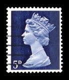 Queen Elizabeth II - Decimal Machin serie, circa 1968. MOSCOW, RUSSIA - FEBRUARY 14, 2019: A stamp printed in United Kingdom shows Queen Elizabeth II - Decimal stock photo