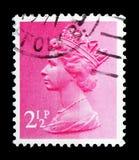 Queen Elizabeth II - Decimal Machin serie, circa 1971. MOSCOW, RUSSIA - FEBRUARY 14, 2019: A stamp printed in United Kingdom shows Queen Elizabeth II - Decimal royalty free stock photo