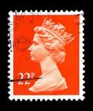 Queen Elizabeth II - Decimal Machin serie, circa 1990. MOSCOW, RUSSIA - FEBRUARY 14, 2019: A stamp printed in United Kingdom shows Queen Elizabeth II - Decimal stock photos