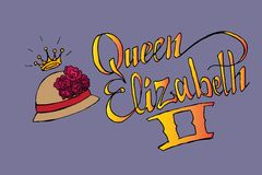 Queen Elizabeth II. Hand drawn  stock illustration. Italics inscription Royalty Free Stock Photography