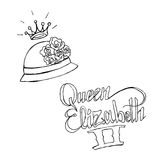 Queen Elizabeth II. Hand drawn  stock illustration. Italics inscription. Black and white whiteboard drawing Stock Photo
