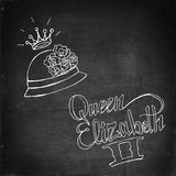 Queen Elizabeth II. Hand drawn  stock illustration. Italics inscription. Chalk board drawing Stock Photo