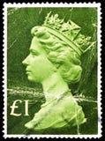 Queen Elizabeth II - Large Machin, Queen Elizabeth II - Decimal Machin - Normal Perfs serie, circa 1977. MOSCOW, RUSSIA - FEBRUARY 22, 2019: A stamp printed in stock images