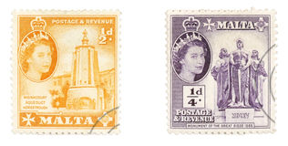 Queen Elizabeth II on Maltese stamps Stock Images