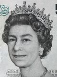 Queen Elizabeth II portrait on 5 pound sterling banknote Stock Images
