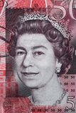 Queen Elizabeth II portrait on 50 pound sterling banknote Stock Image