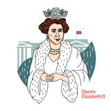Queen Elizabeth II Portrait. Queen Elizabeth II colored vector portrait with black contours and Buckingham Palace at background. Queen of the UK and the other royalty free illustration