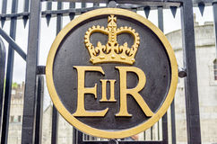 Queen Elizabeth II Royal Crest Logo. Royal Crest on a London Gate, UK Royalty Free Stock Photography