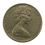 Queen Elizabeth II on a well scratched New Zealand. Coin (20 cents from 1978 Royalty Free Stock Image