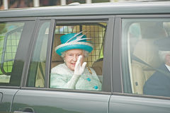 Queen Elizabeth leaving Braemar Games. royalty free stock images