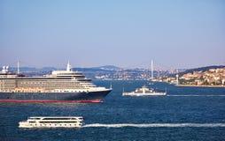 Queen Elizabeth liner in Bosphorus Royalty Free Stock Images