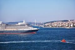 Queen Elizabeth liner in Bosphorus Royalty Free Stock Photo