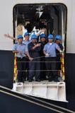 Queen Elizabeth liner crew Stock Images