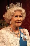 Queen Elizabeth, London, United Kingdom - March 20, 2017: Queen Elizabeth ii 2 portrait waxwork wax figure at museum, London Royalty Free Stock Images