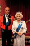 Queen Elizabeth, London, United Kingdom - March 20, 2017: Queen Elizabeth ii & Prince Philip portrait figure at museum, London Royalty Free Stock Photo