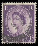 Queen Elizabeth 2nd. Great Britain - stamp printed in1954, Series Heads of State, Queens, Queen Elizabeth 2nd, Predecimal Wilding Royalty Free Stock Photo