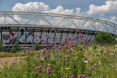 Queen Elizabeth Olympic Park with Aquatics Centre , London royalty free stock photo