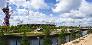Queen Elizabeth Olympic Park in London. A panoramic view of the Queen Elizabeth Olympic Park in London Royalty Free Stock Photos