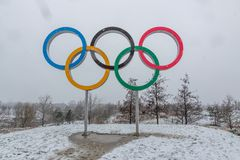 Queen Elizabeth Olympic Park in snow stock photos