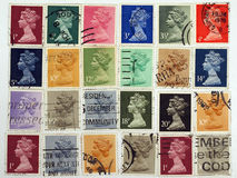 Queen Elizabeth.Postage stamps. Royalty Free Stock Image