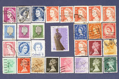 Queen Elizabeth.Postage stamps. Postage stamps of British Commonwealth countries with image of Queen Elizabeth Royalty Free Stock Image