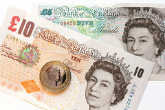 Queen elizabeth on the pound banknotes Royalty Free Stock Images